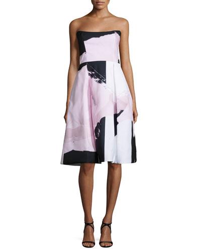 Strapless Paint-Floral Ball Dress, Black