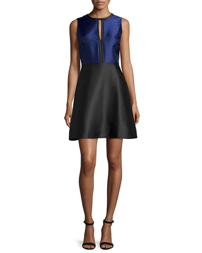 Eliza Colorblock Fit-&-Flare Dress, Black/Sapphire