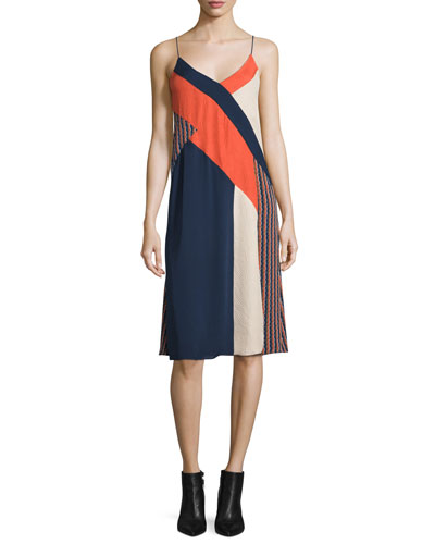 Frederica Sleeveless Colorblock Slip Dress, Rickrack Khaki/Orange/Midnight