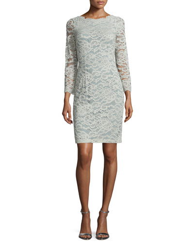 Long-Sleeve Lace Sheath Dress, Sage