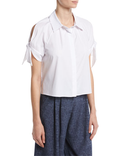 Short Tie-Sleeve Stretch-Poplin Boxy Top, White