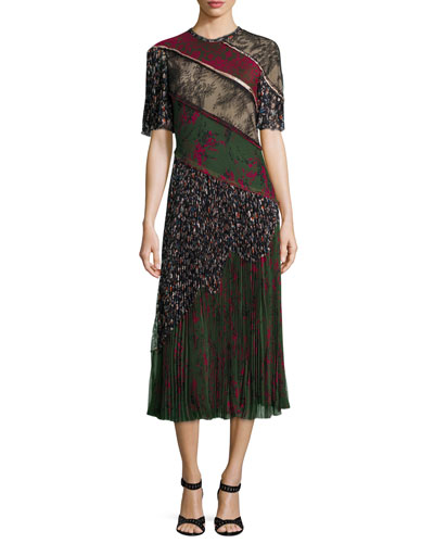 Printed Lace-Inset Pleated Dress, Military/Multi