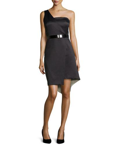 One-Shoulder Asymmetric Belted Cocktail Dress