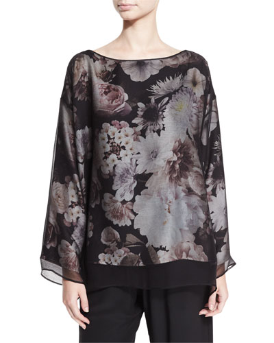 Floral-Print Silk Tunic, Black Blossom