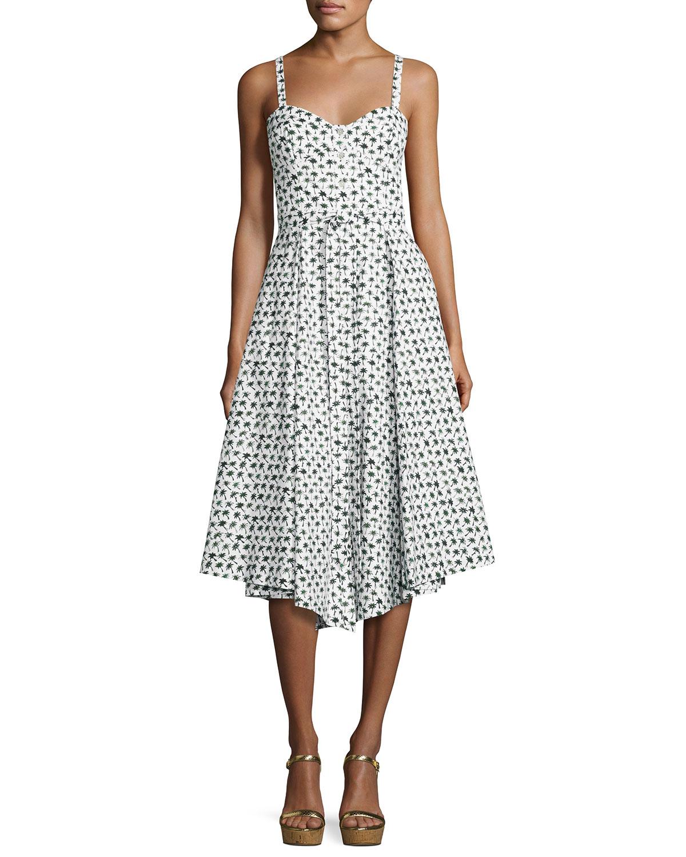 Bambino Palm Tree-Print Bustier Midi Dress, Multi