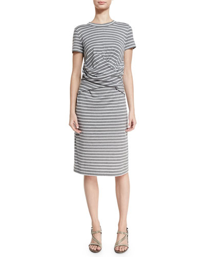 Short-Sleeve Striped Crossover-Waist Dress, Multi