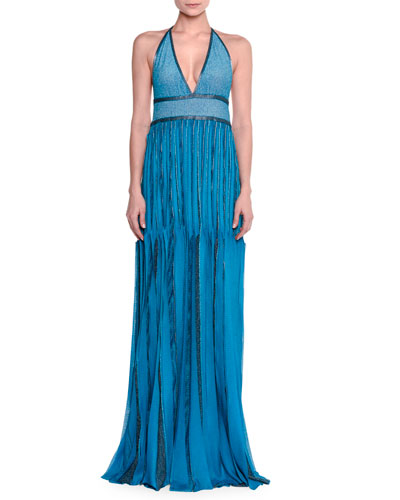 Metallic Knit Halter Gown, Turquoise