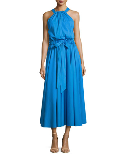 Lizzy Sleeveless Self-Tie Poplin Midi Dress, Blue