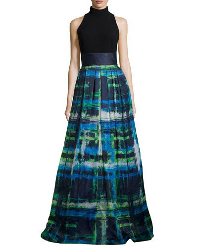 Halter T-Back Jersey Bodice Plaid Skirt Gown
