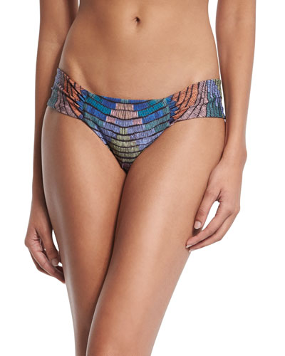 Radial Ruched-Side Swim Bottom