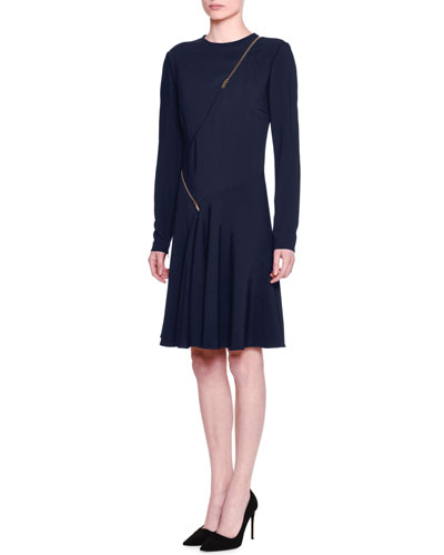 Long-Sleeve Asymmetric-Zip Dress, Orion Blue