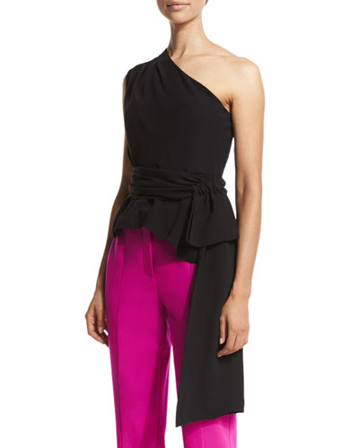 Sash-Waist One-Shoulder Top, Black