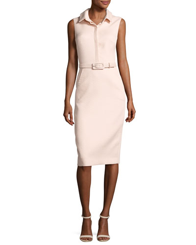 Sleeveless Collared Belted Shirtdress, Light Pink