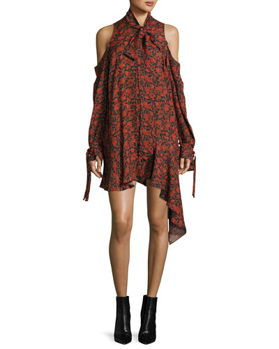 Haifa Cold-Shoulder Floral-Print Tie-Neck Silk Dress, Red
