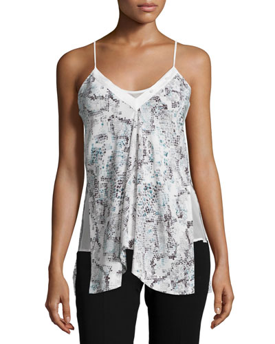 Grosgrain Snake-Print Camisole, Mint