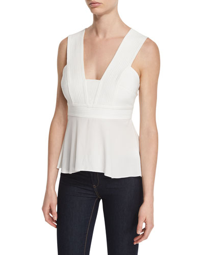 Leigh Sleeveless Pintucked Peplum Top
