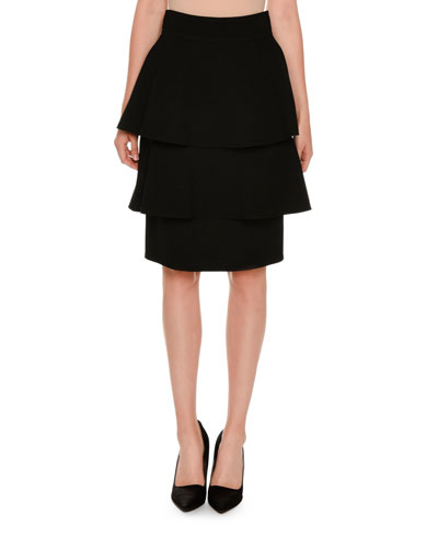 Tiered Two-Tone Skirt, Black