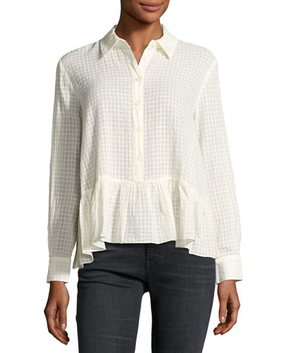 The Ruffle Flounce-Hem Oxford Shirt, Cream