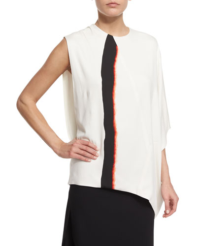 Brushstroke-Print Asymmetric Top, Ebony/Claret/White