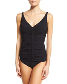 Waterfall Tankini Swim Top, Black (Available in D Cup)