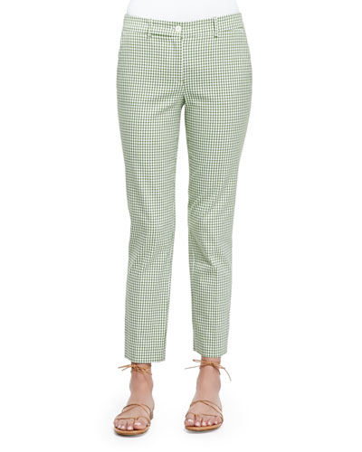 Gingham Check Ankle Pants, Lawn