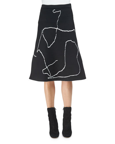 Calder Line Art A-Line Skirt, Black