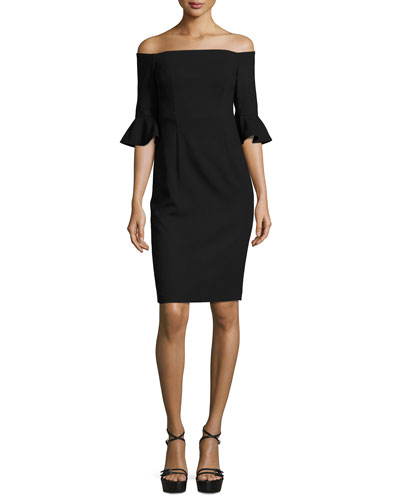 Flutter-Sleeve Off-the-Shoulder Sheath Dress