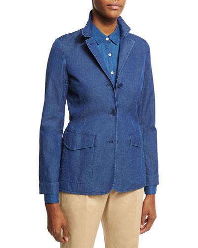Kelsey Denim Three-Button Jacket, Blue