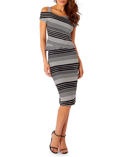 Striped Midi Pencil Skirt, Black/White