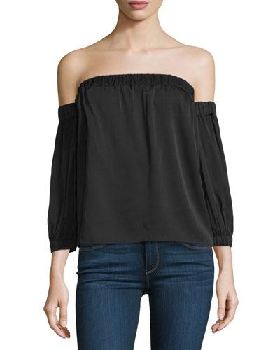 Off-The-Shoulder Stretch-Silk Blouse, Black