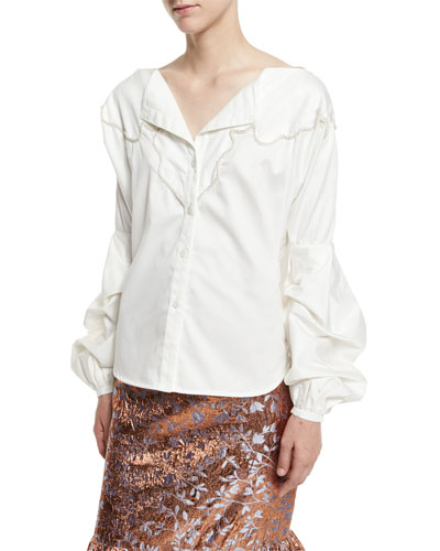 Anna Beth Embroidered-Yoke Bishop-Sleeve Blouse, White