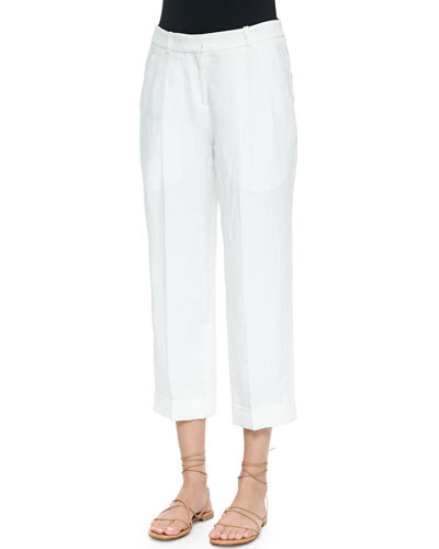 Cashmere-Blend Ankle Pants, Optic White