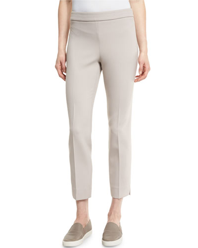 Double-Knit Cropped Side-Zip Pants, Light Beige