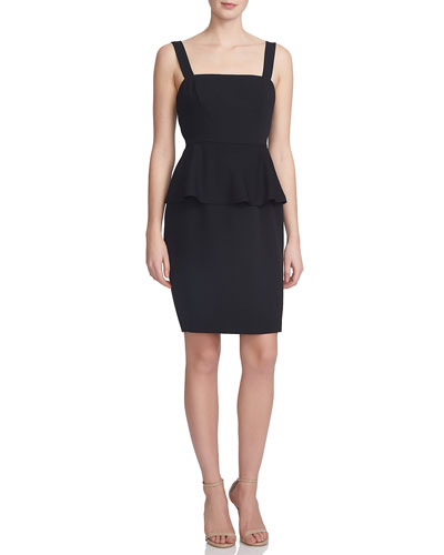 Peplum-Waist Sheath Dress, Rich Black