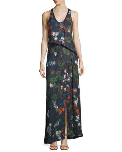 Sleeveless Floral-Print Silk Maxi Dress, Fantasia Blue