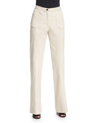 High-Waist Flare-Leg Jeans, Ivory