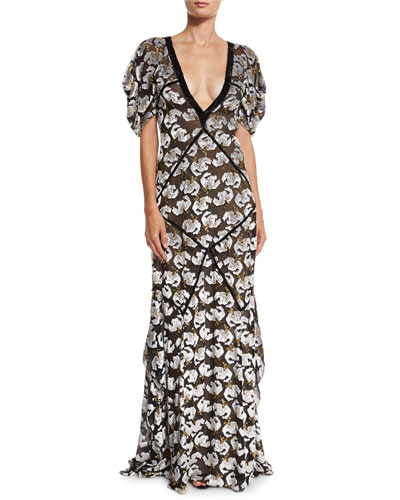 Charlotte Plunging Velvet Jacquard Gown, Black/Ecu