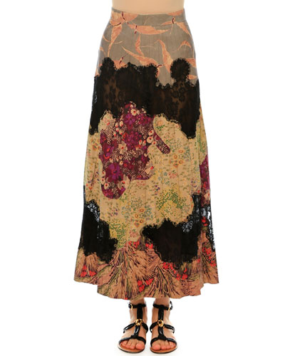 Patchwork Suede A-Line Maxi Skirt, Multi Colors