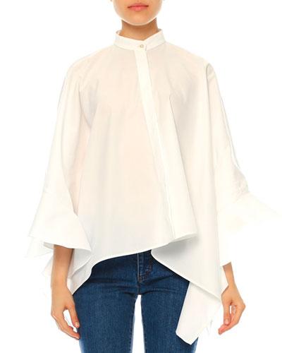 Ruffled Cotton Poncho Blouse, White (Bianco)