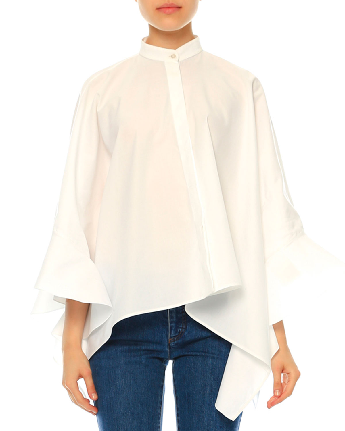Ruffled Cotton Poncho Blouse, White (Bianco)