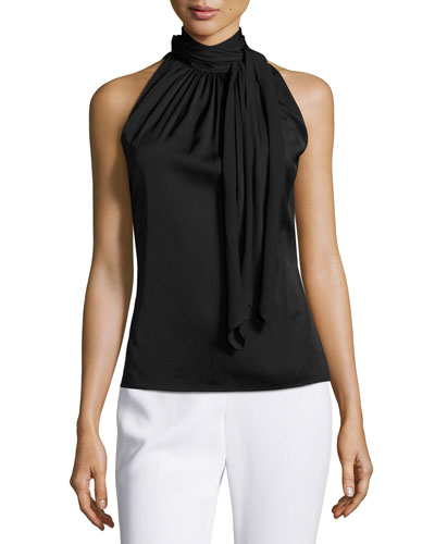 Pleated High-Tie-Neck  Sleeveless Top