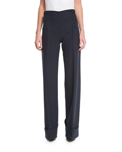 High-Waist Button-Front Pants, Navy