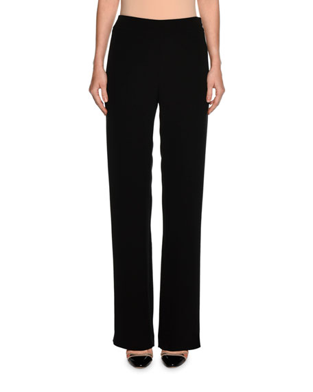 Giorgio Armani Wide-Leg Silk Pants, Black