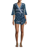 Ruffle Wrap-Front Romper, Temple Print