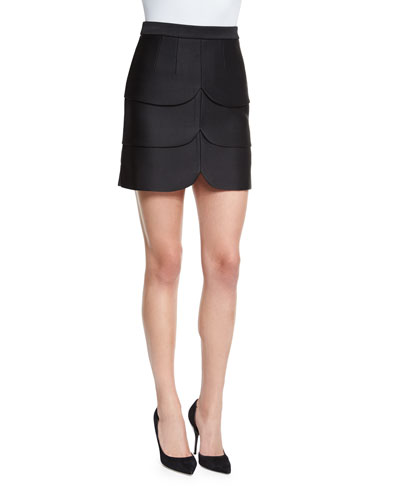 Scalloped Satin Mini Skirt, Black