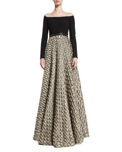 Off-the-Shoulder Jersey & Satin Jacquard Gown, Black/Gold