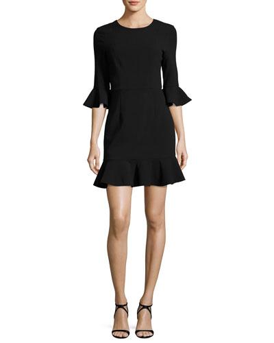 Bell-Sleeve Flounce Dress