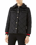 Gucci Quilted Jacket with Web, Black