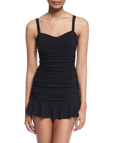 Origami D-Cup Ruched Tankini Swim Top, Black