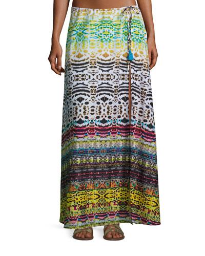 Bengal Shore Slit Maxi Coverup Skirt, Multi